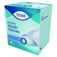 TENA Wash Gloves ProSkin : Gants jetables - La boîte de 175 plastifiés.