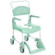 Chaise de douche et toilettes CLEAN - Vert lagon, 55 cm, petites roues, 2 freins